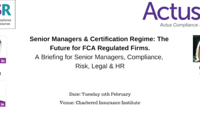 Senior Managers & Certification Regime – A Presentation