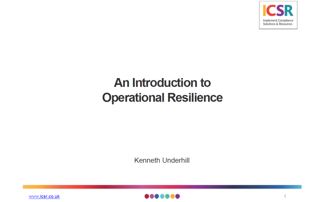 Operational Resilience Webinar – Kenneth Underhill