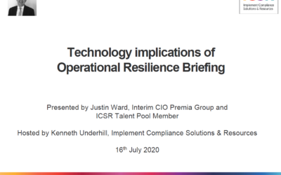 Technology and Operational Resilience Webinar – Justin Ward